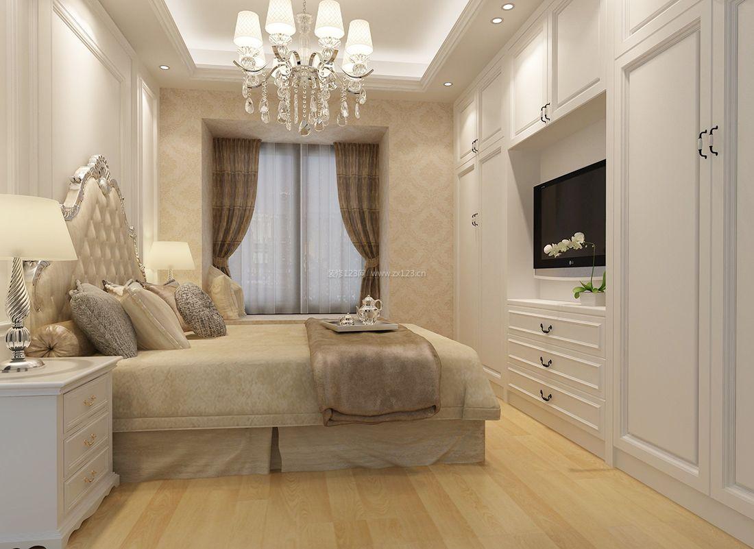 简欧90平米室内卧室电视背景墙装修效果图大全图片