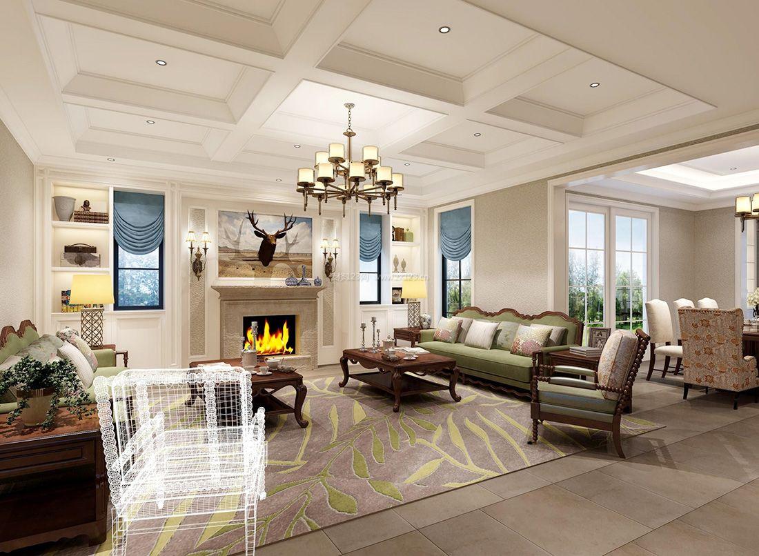 家装效果图 美式 2017简约美式小别墅客厅地毯装修效果图片 提供者