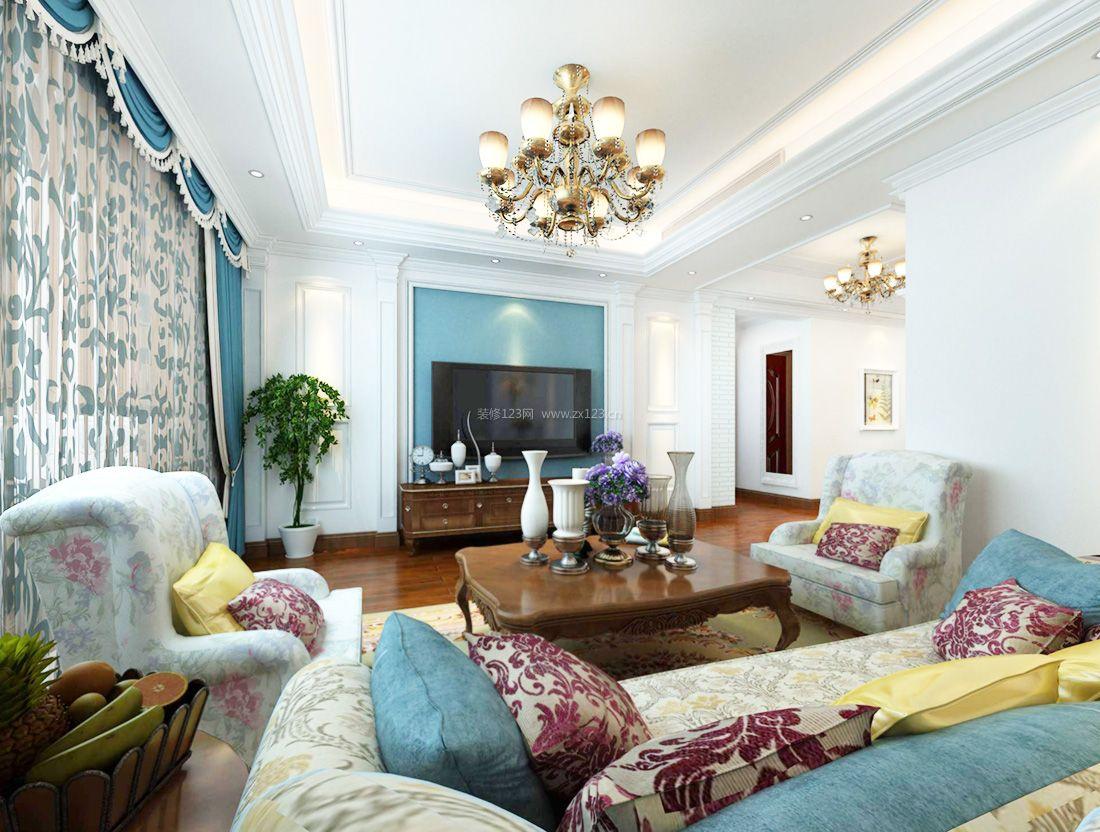 2017欧式家装小别墅客厅窗帘搭配效果图