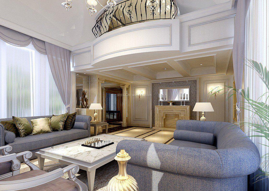 别墅复式楼房子简欧风格客厅装修效果图