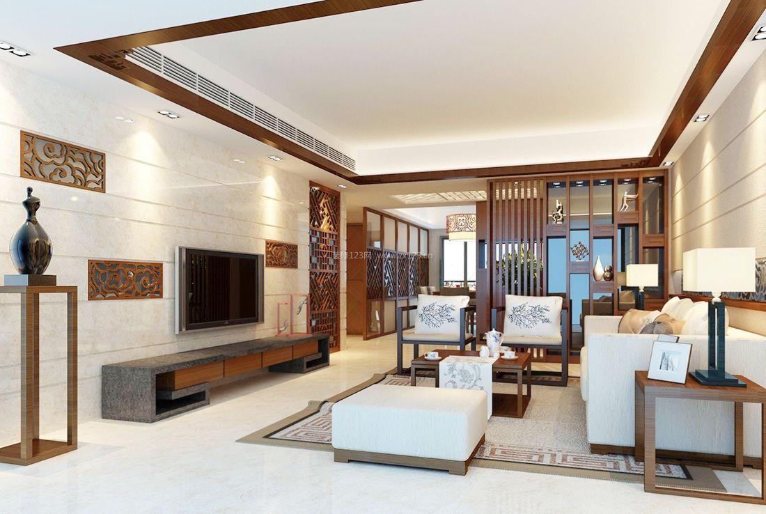 简约中式客厅电视背景墙装饰装修效果图2017