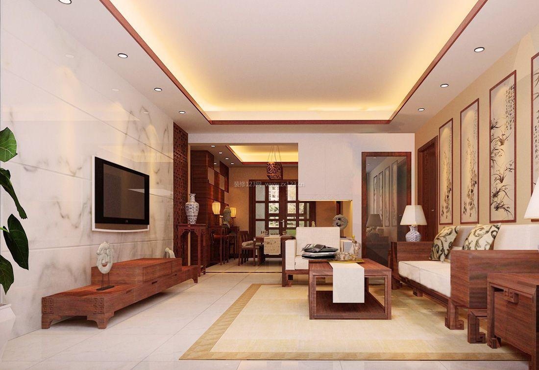 2017简约中式客厅装饰画装修效果图片