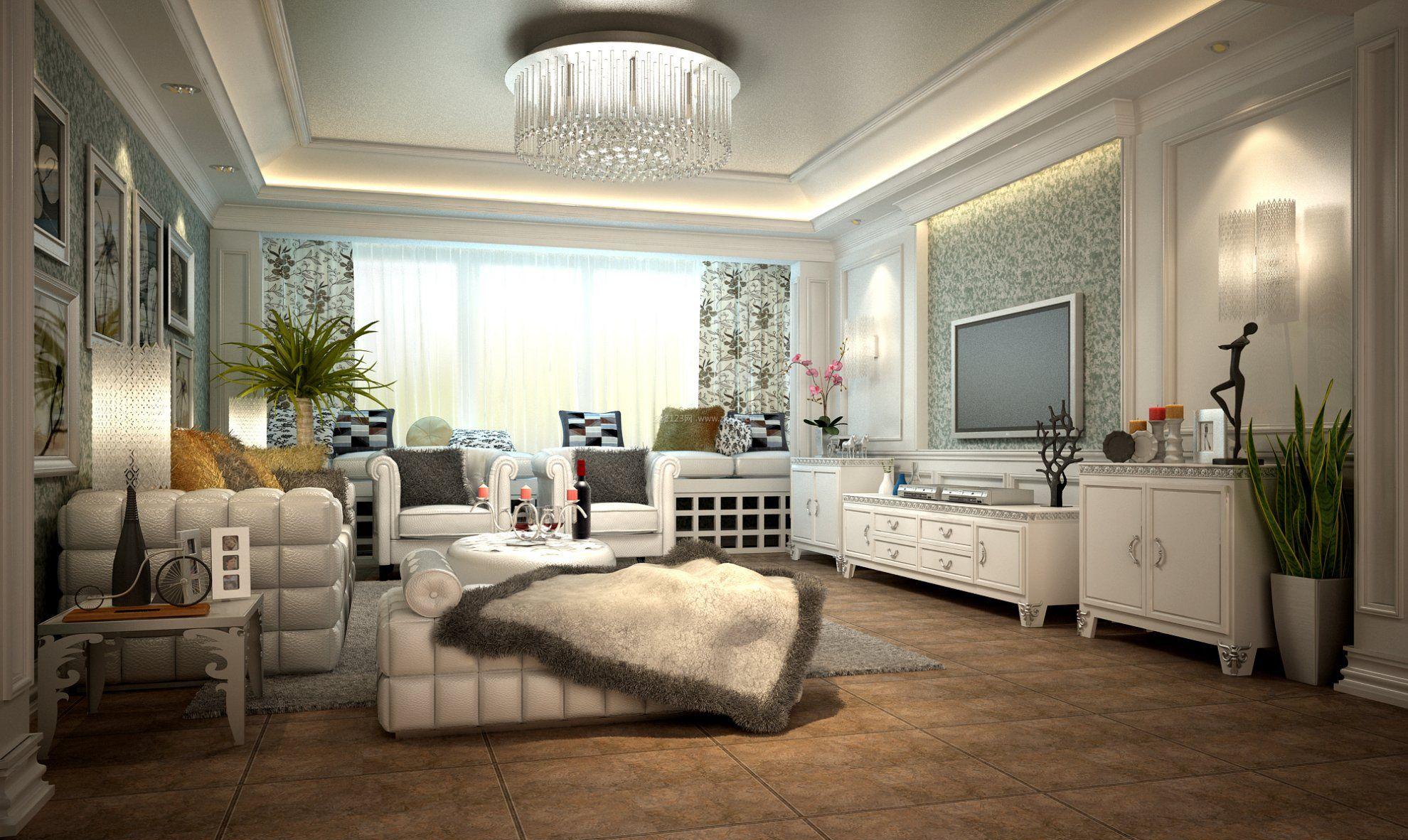 现代简欧风格别墅客厅装修效果图欣赏图片