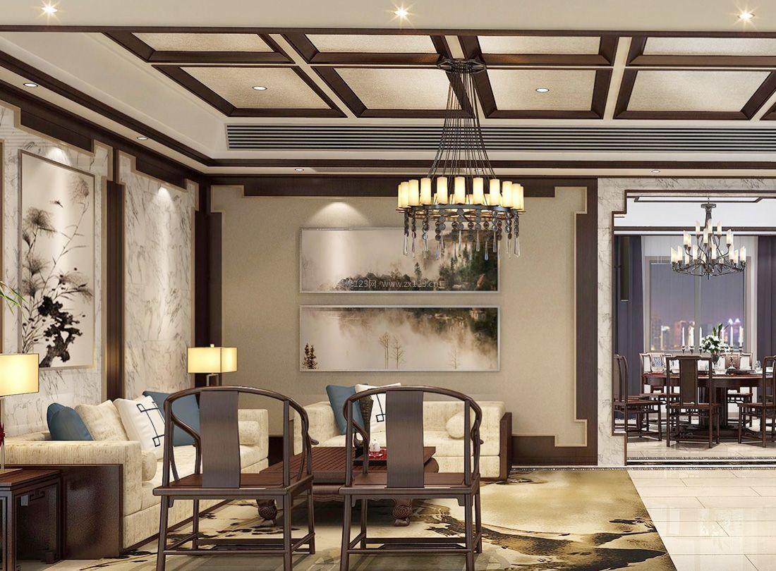 2017简约中式客厅吊顶装饰设计装修效果图片图片