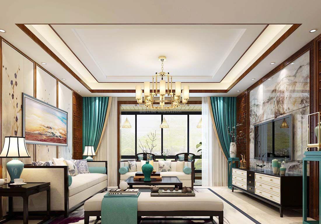 简约中式客厅布艺窗帘装饰装修效果图片2017图片