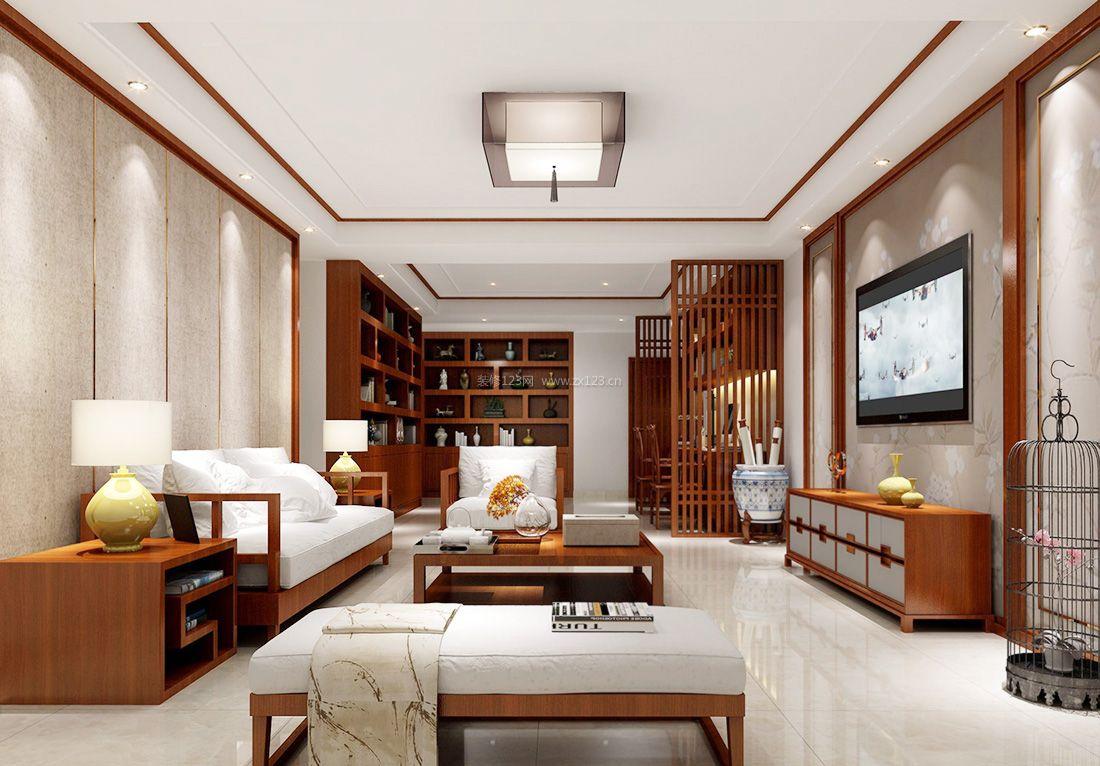 2017中式房屋简约客厅装修效果图