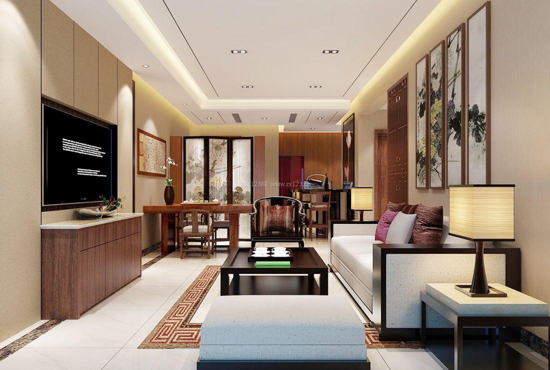中式房屋客厅背景墙装饰效果图2017