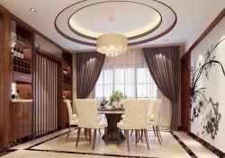 2017最新中式房屋餐厅圆形吊顶装修效果图片