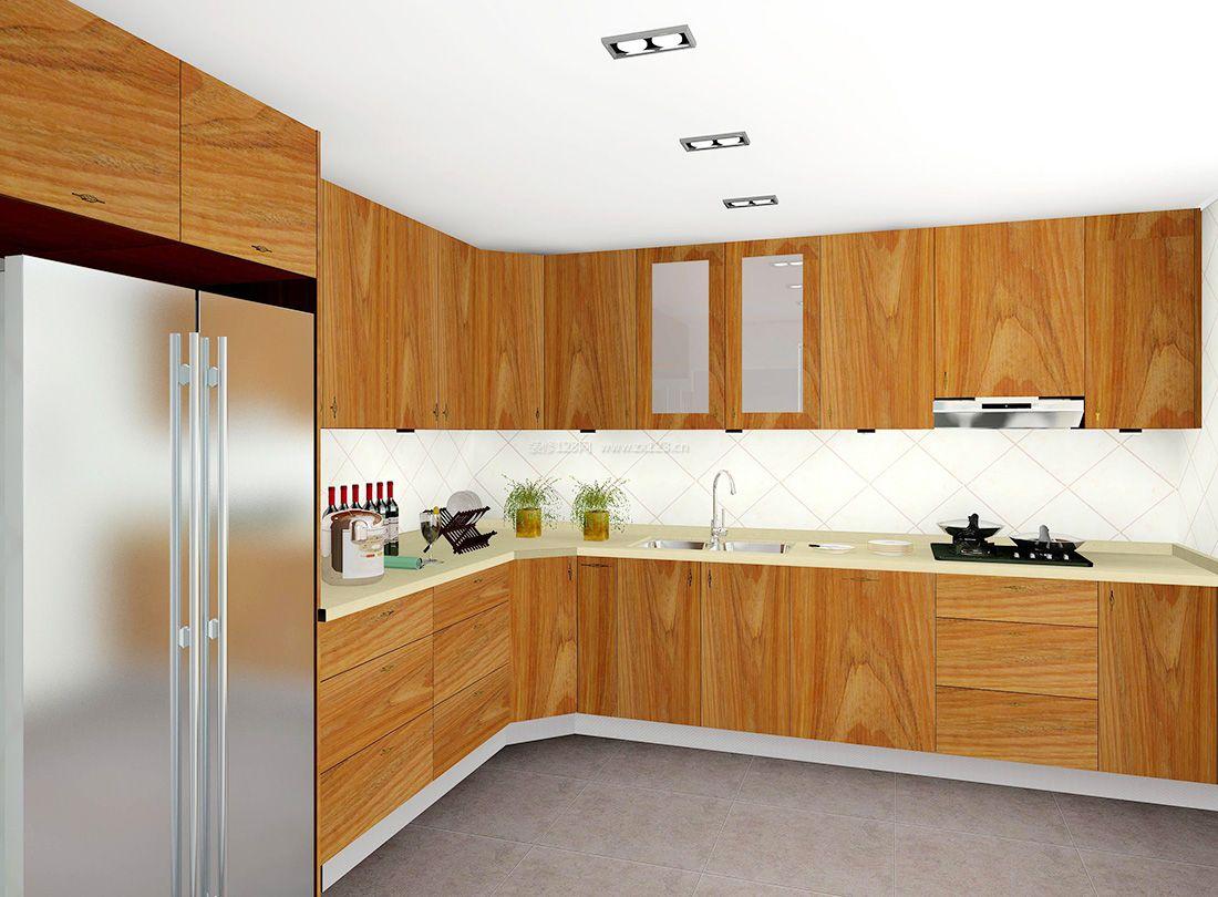 简约风格厨房实木橱柜装修效果图2017