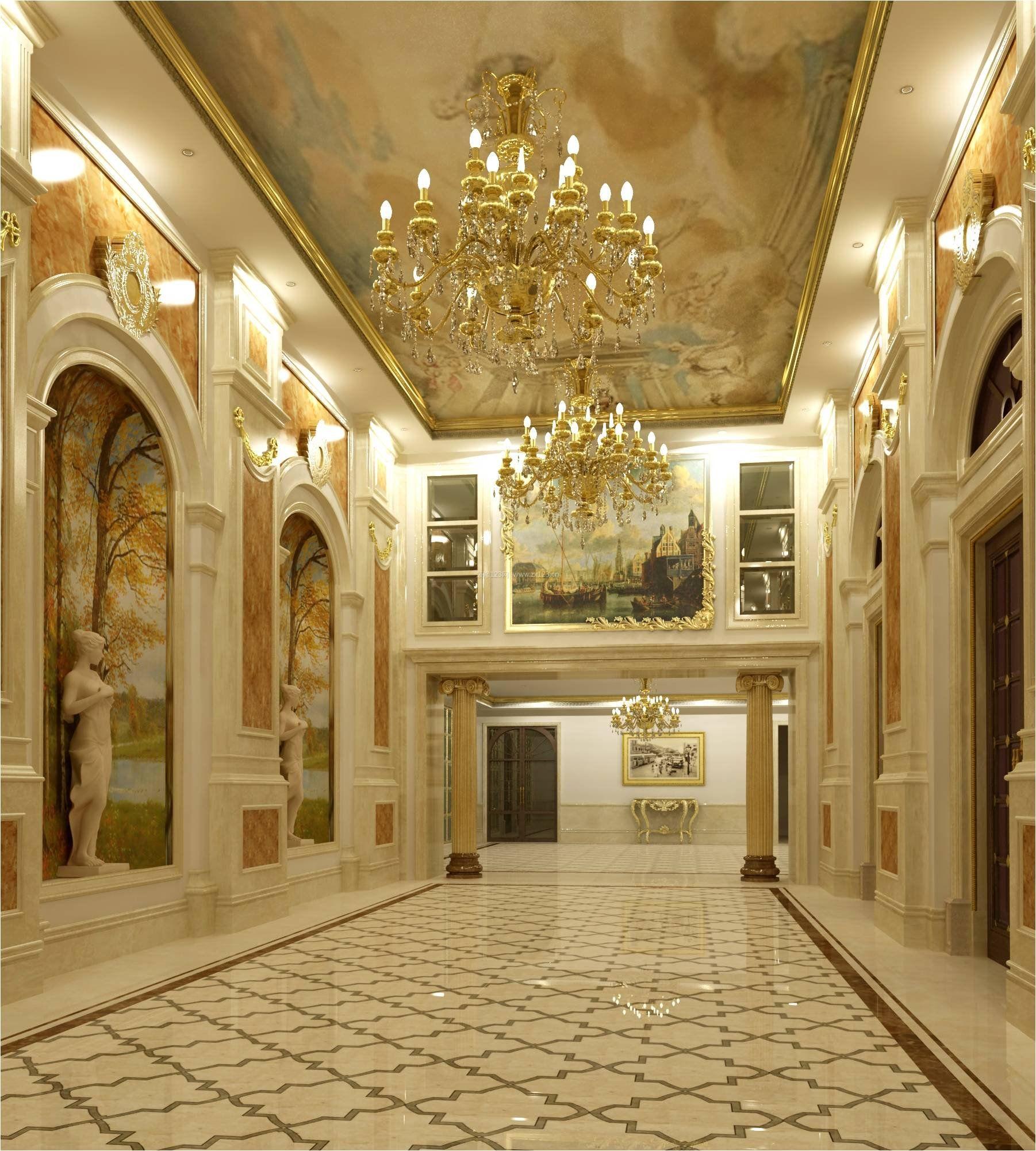 复式欧式大别墅客厅走廊吊顶装饰