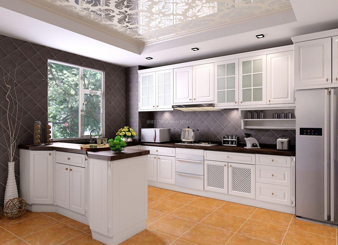 2017欧式简约风格厨房镜面吊顶装修效果图片