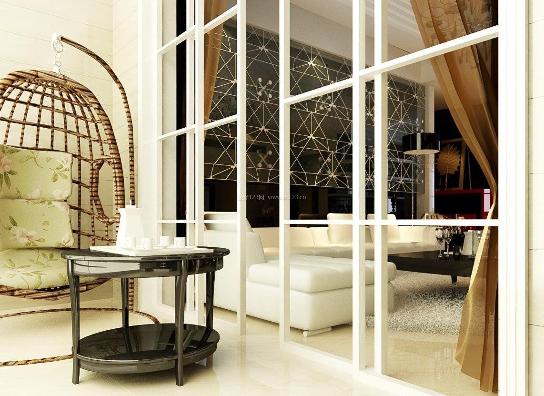 客厅阳台设计效果图-客厅和阳台隔断效果图-客厅带阳台装修效果图-小