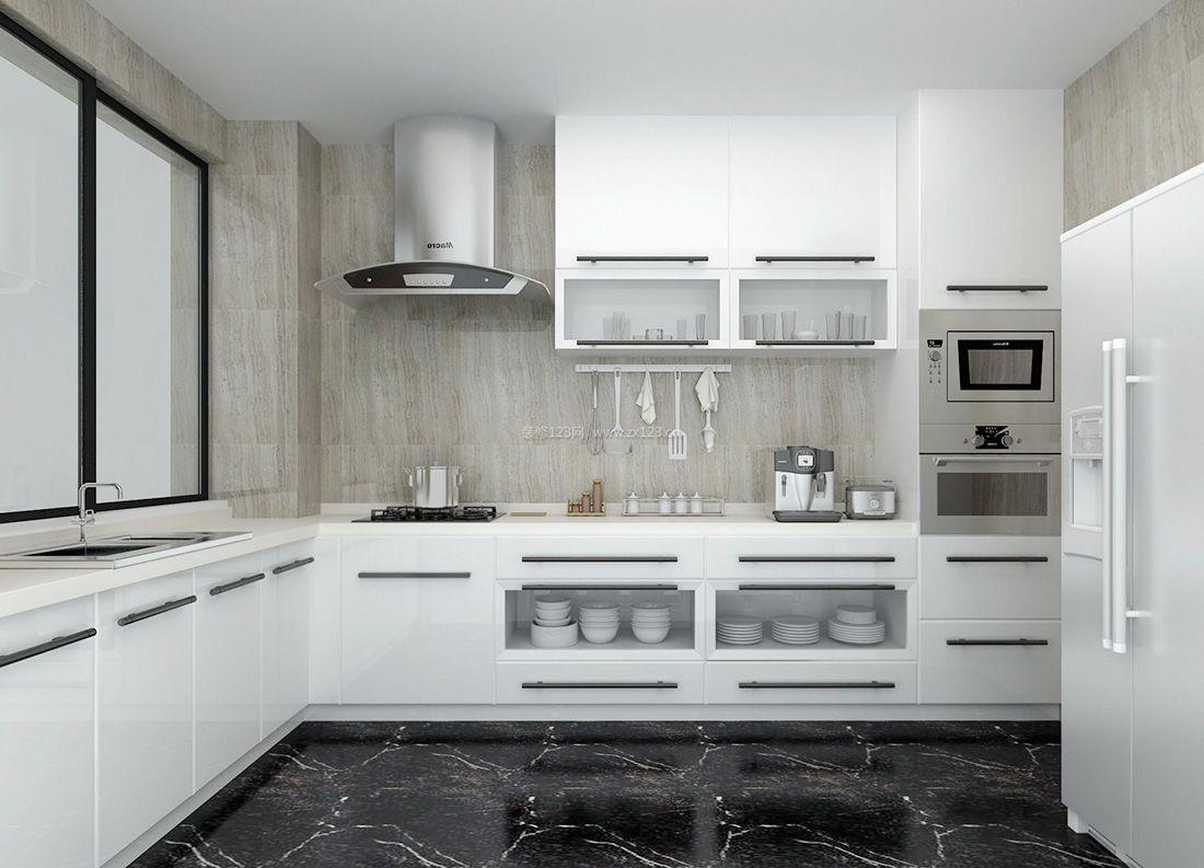 2017简约风格厨房白色橱柜装修效果图片