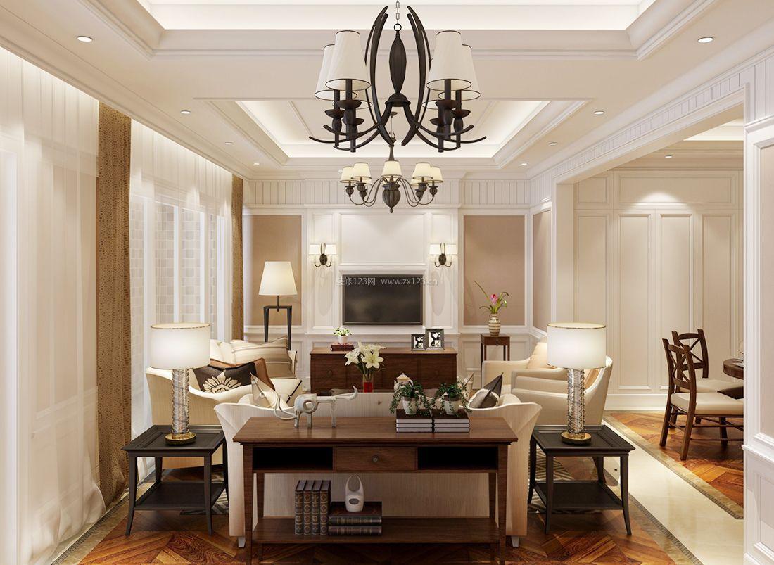 2017美式风格客厅简约吊灯装修设计效果图片