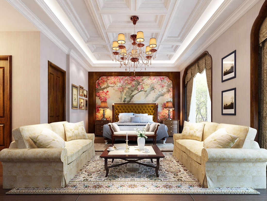 美式风格家装别墅卧室吊灯装修效果图2017图片