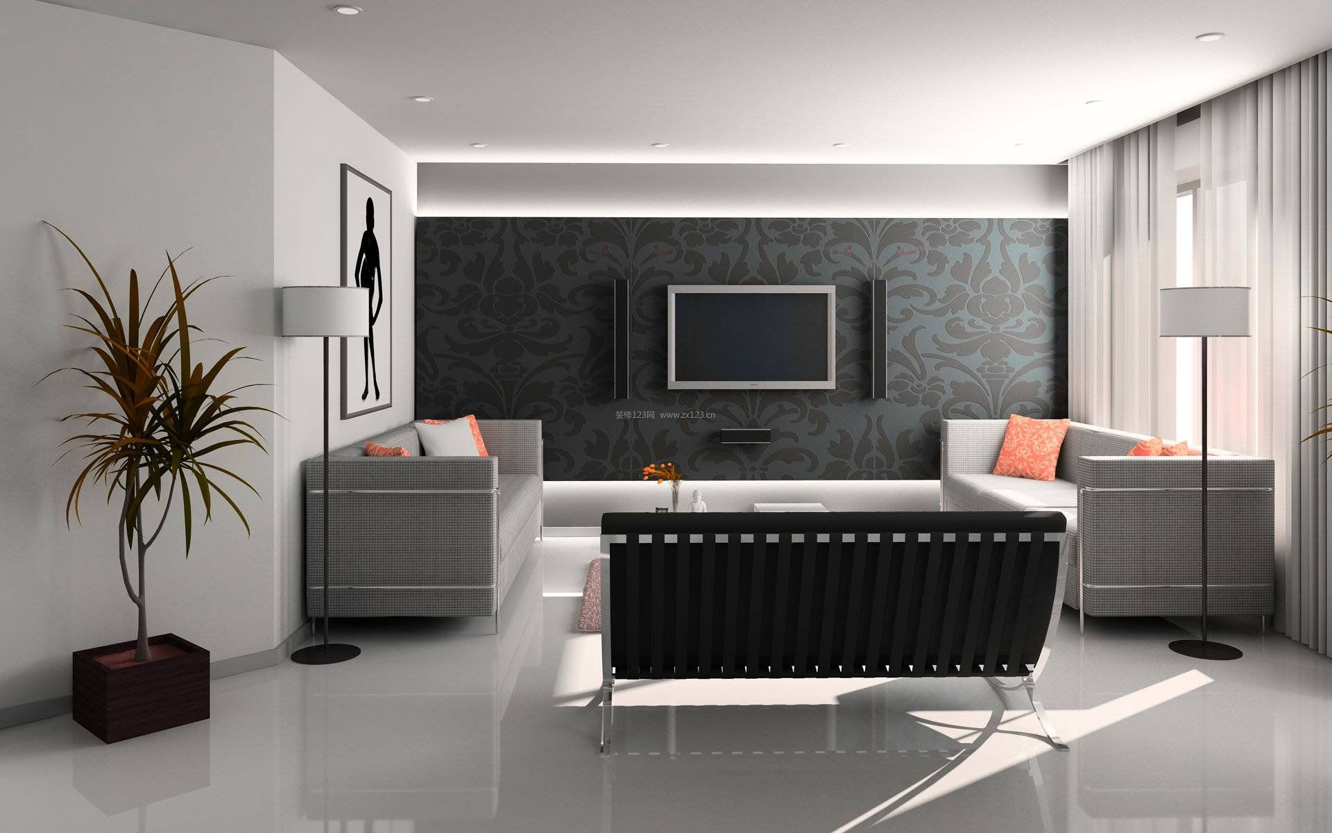 小户型现代客厅电视墙纸背景墙设计简约时尚风格