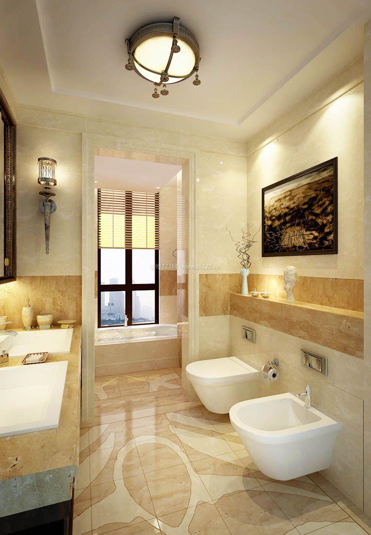 美式超小面积室内卫生间吸顶灯装修效果图片