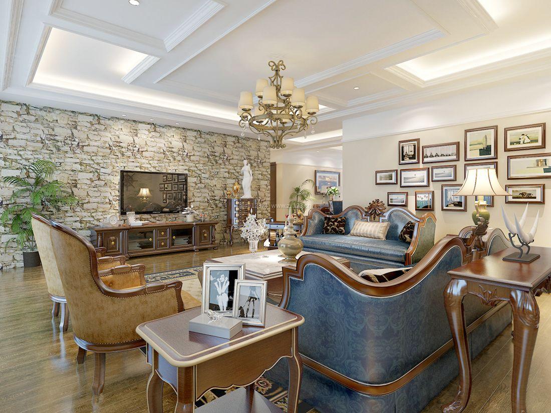 美式风格别墅客厅吊灯装修设计效果图2017图片