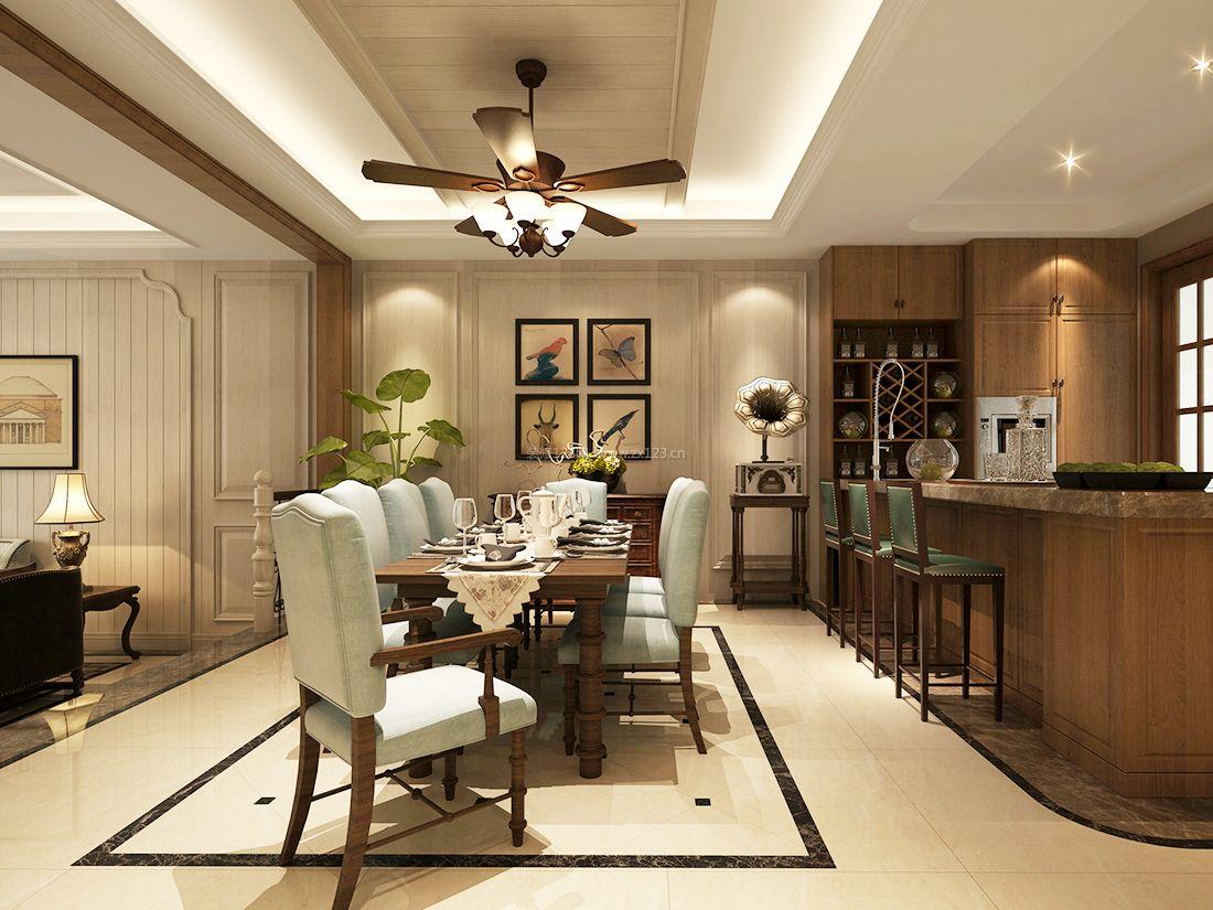 2017美式风格家装别墅餐厅吊灯设计图片_装修123效果图图片