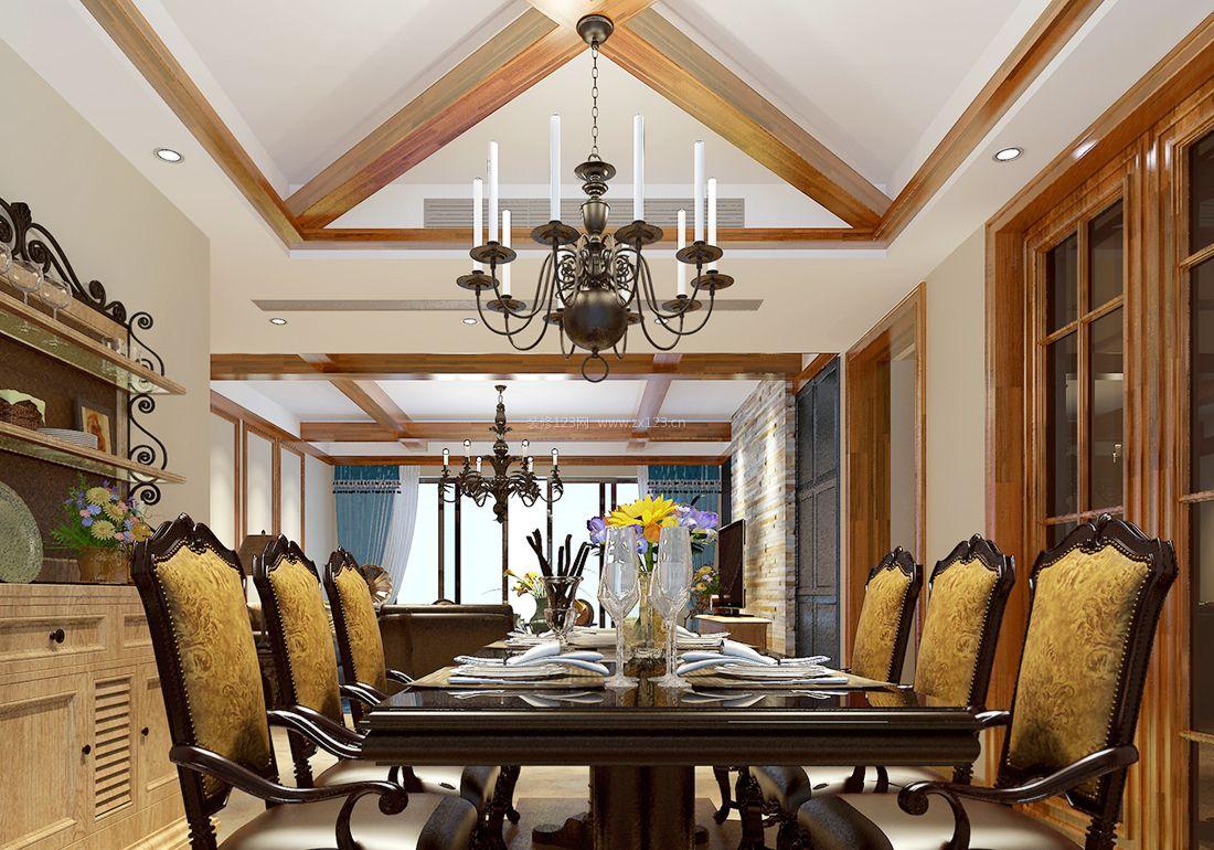 2017美式风格家装餐厅吊灯装修效果图图片