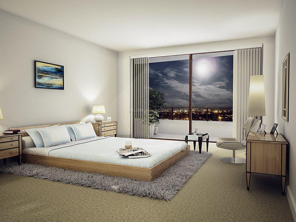现代简约家装风格带阳台卧室_装修123效果图