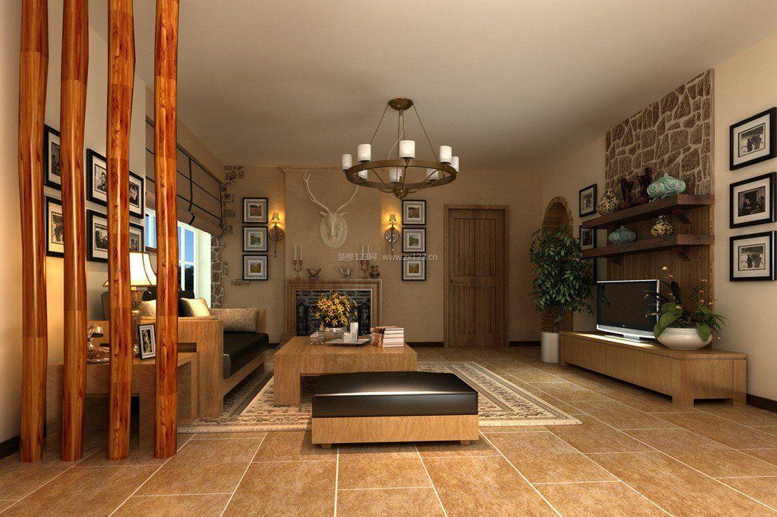 中式古典风格客厅隔断装修效果图