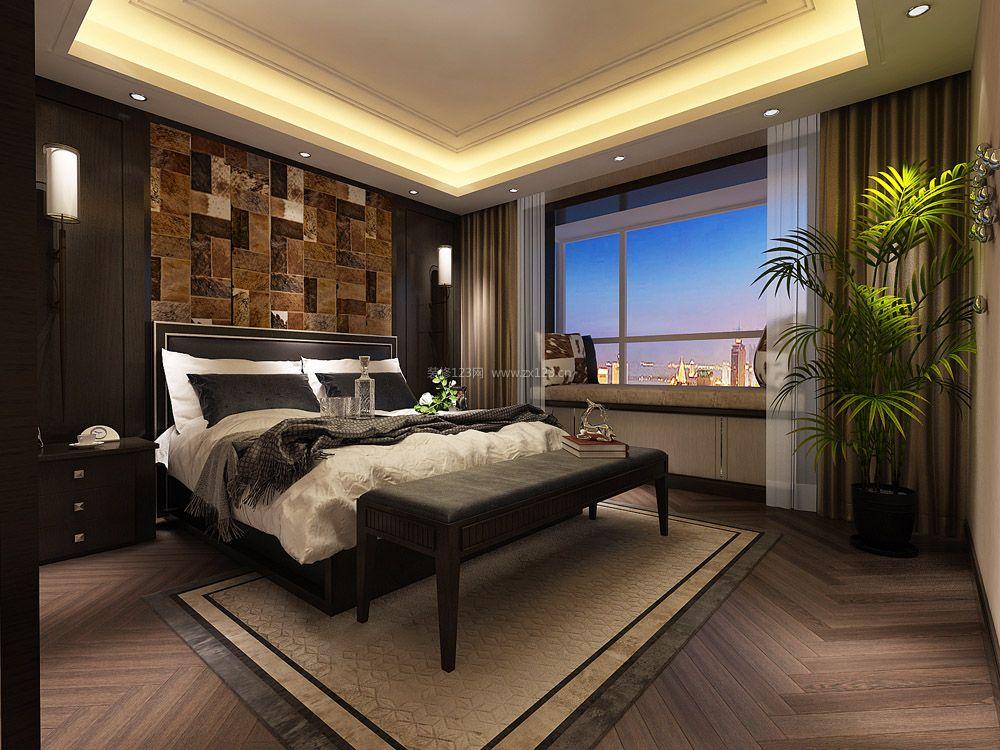 现代港式风格卧室床头背景墙装修效果图片图片