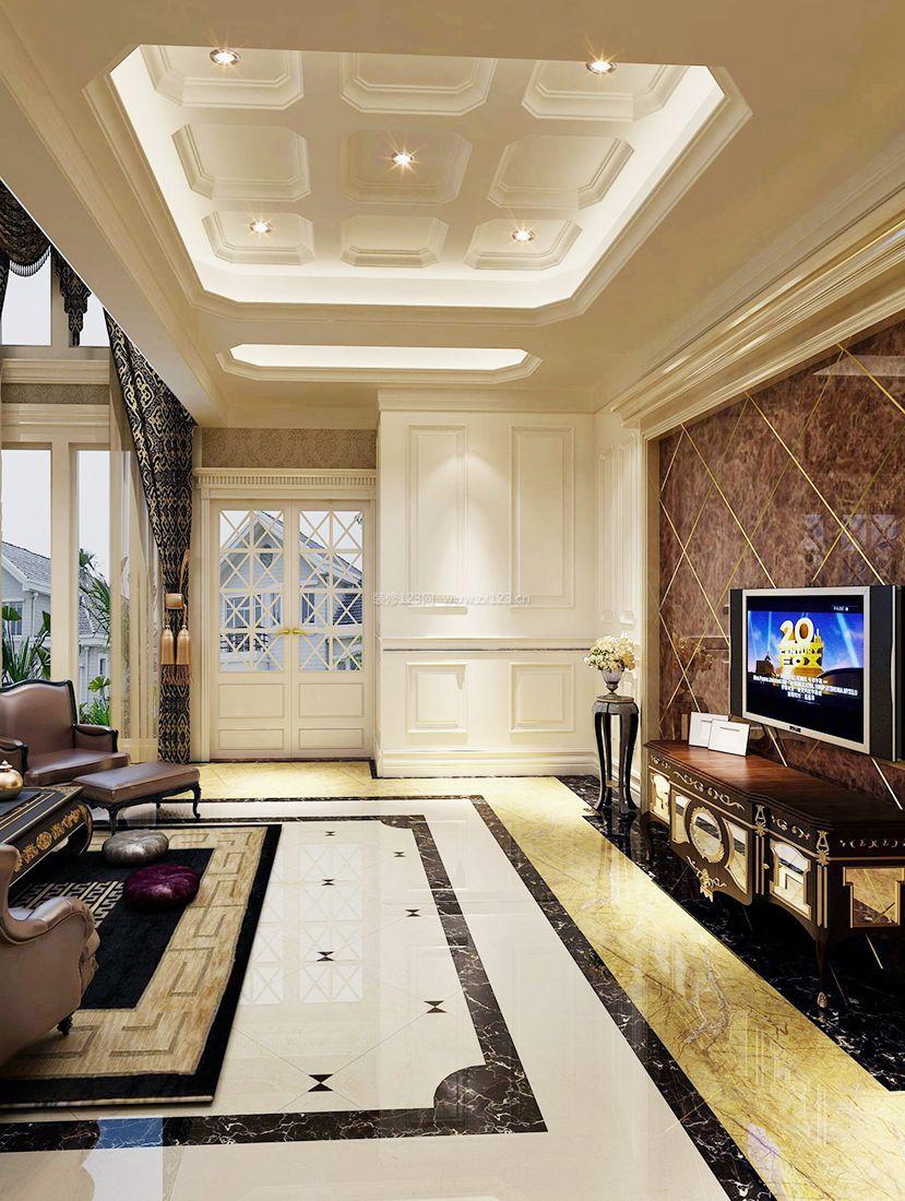 欧式别墅室内电视背景墙装修效果图片2017