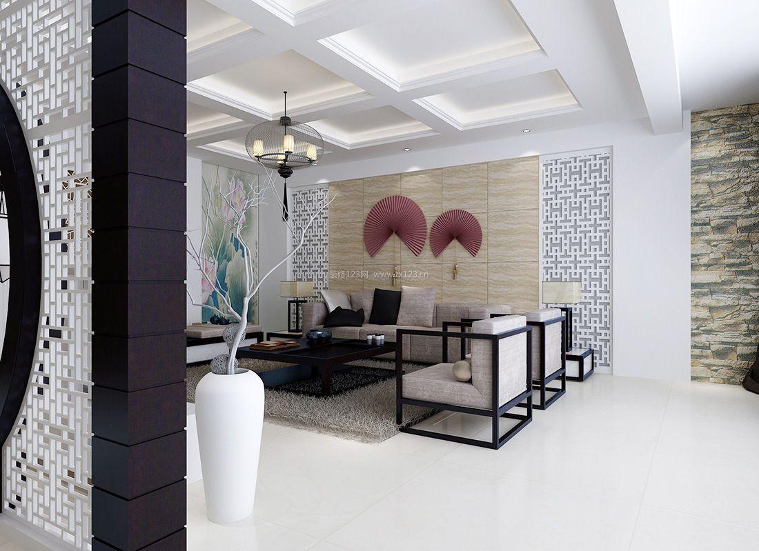 简约中式大气客厅背景墙装饰装修效果图片