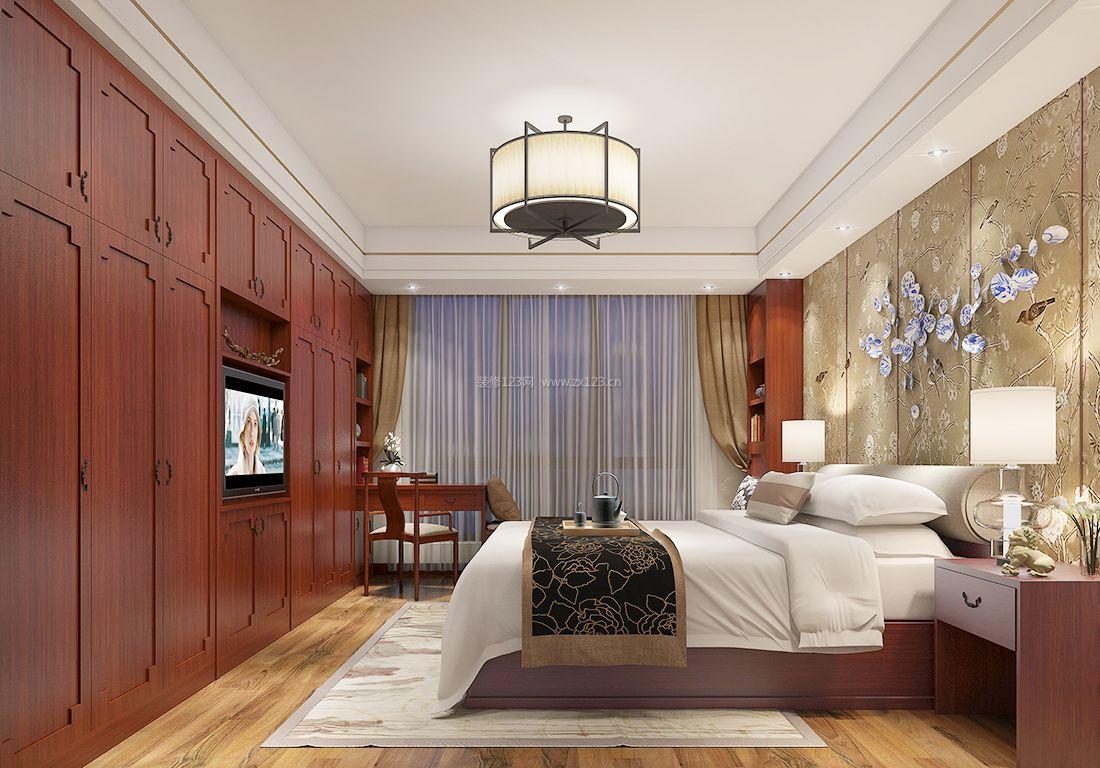 最新中式别墅卧室衣柜装修设计效果图