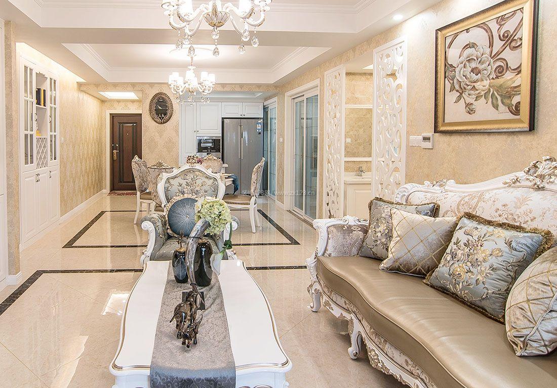 简约欧式风格小户型客厅沙发装修效果图片2017