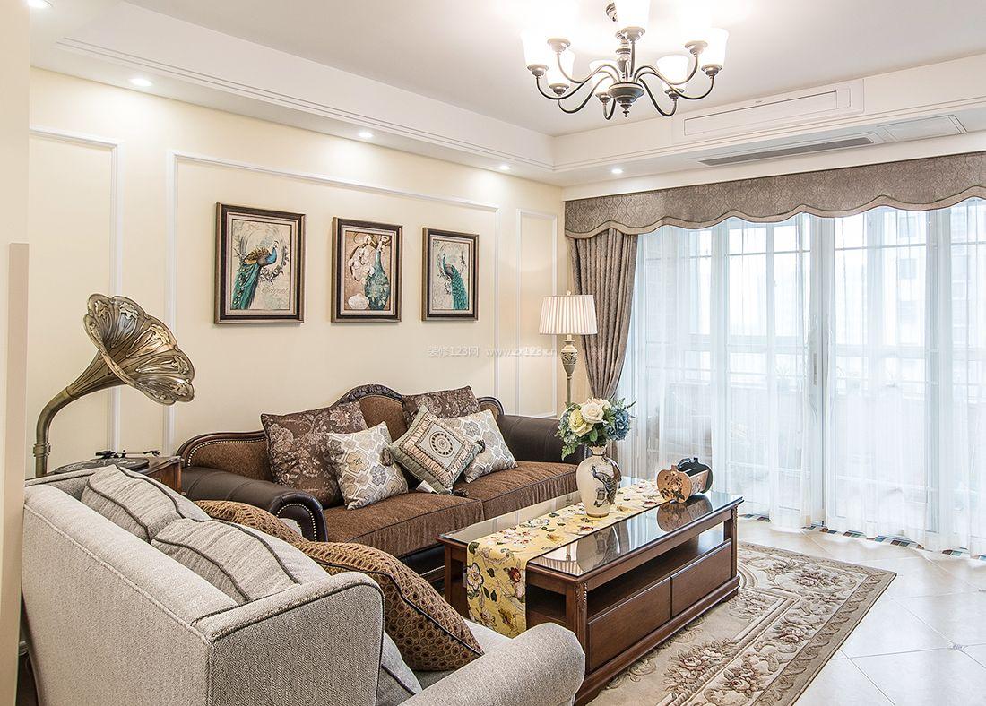 美式小户型客厅沙发装修效果图2017图片