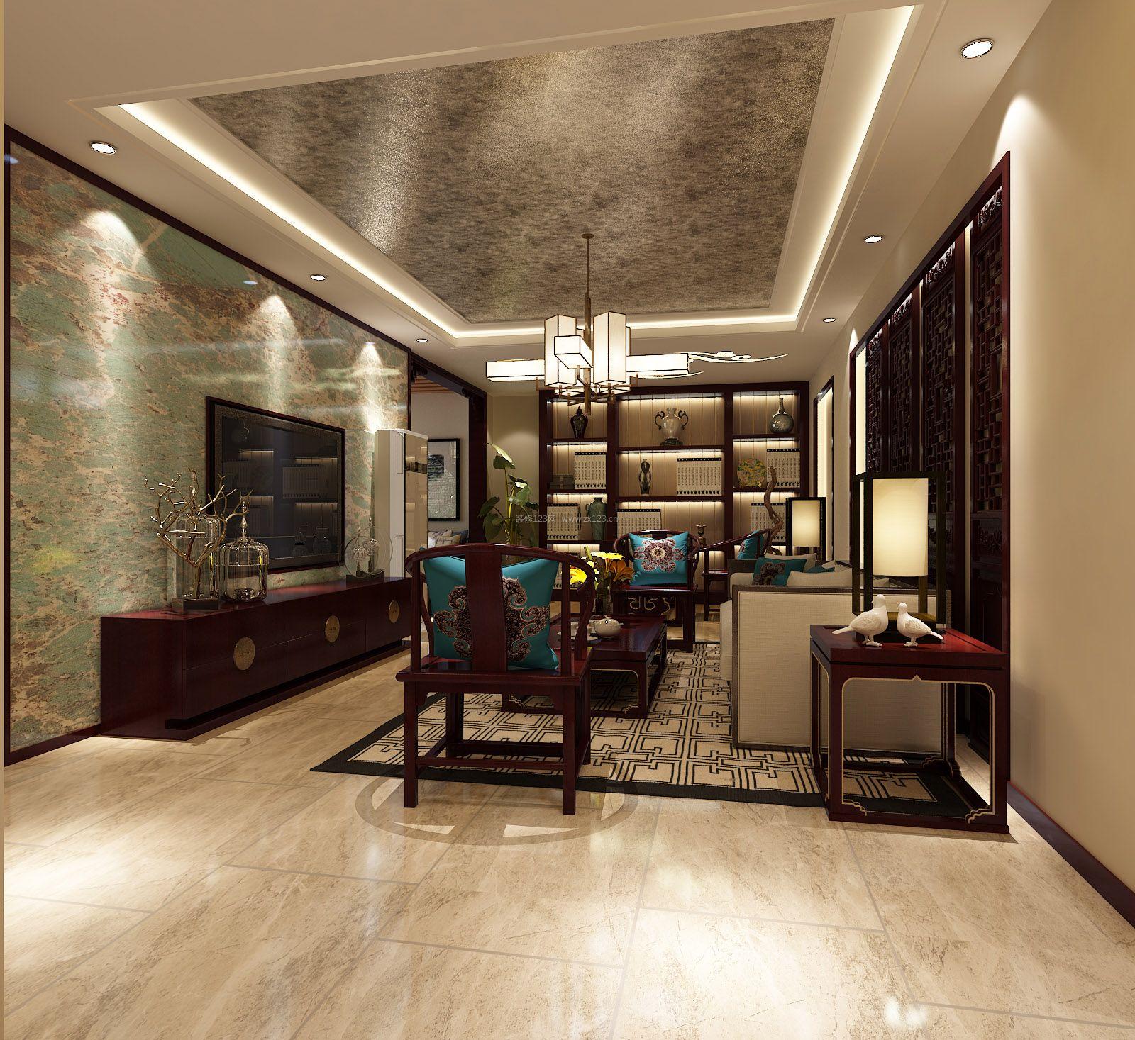 中式客厅电视背景墙壁纸装修效果图片