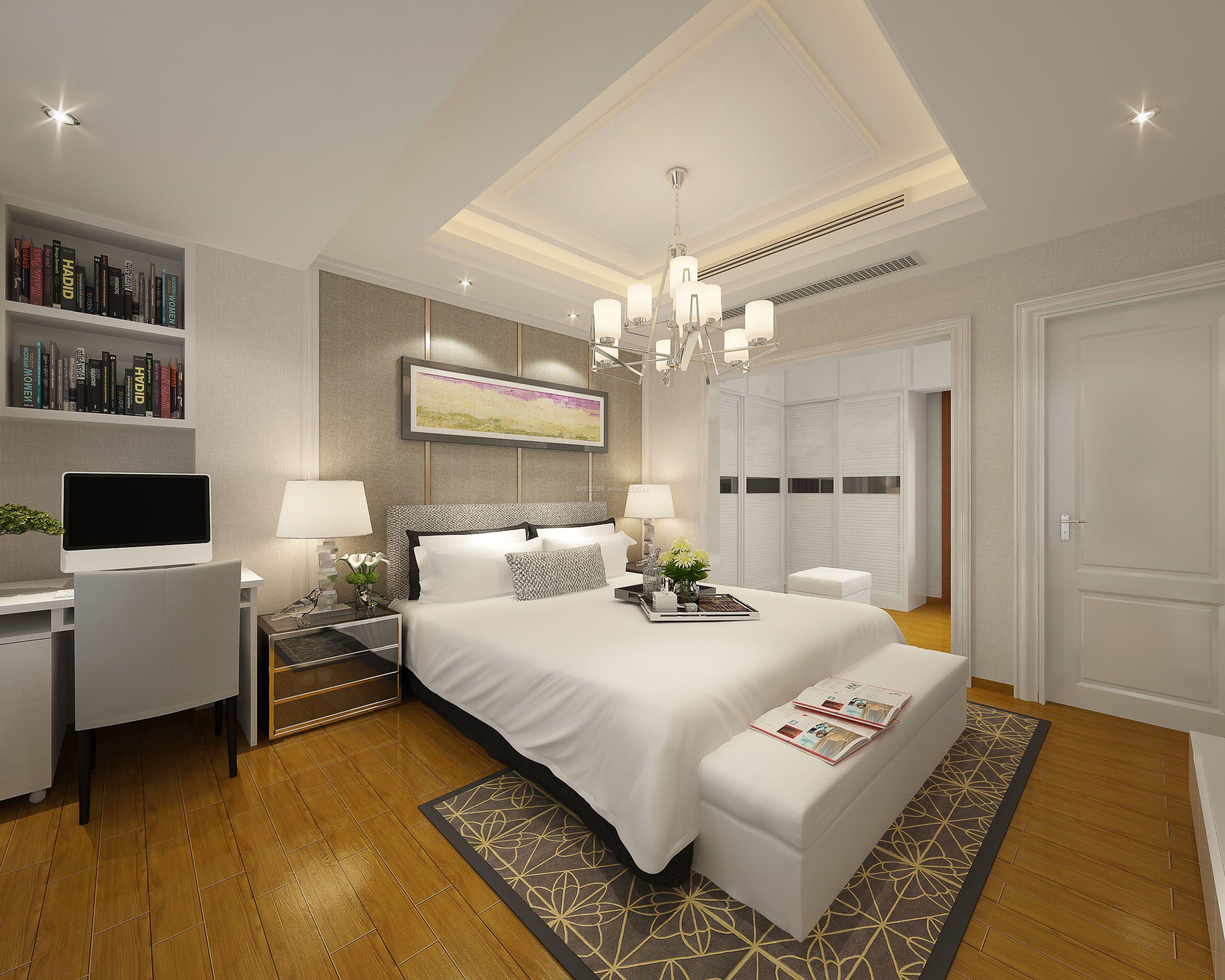 现代卧室棕黄色木地板装修效果图
