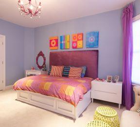 紫色臥室 現代臥室床頭背景墻