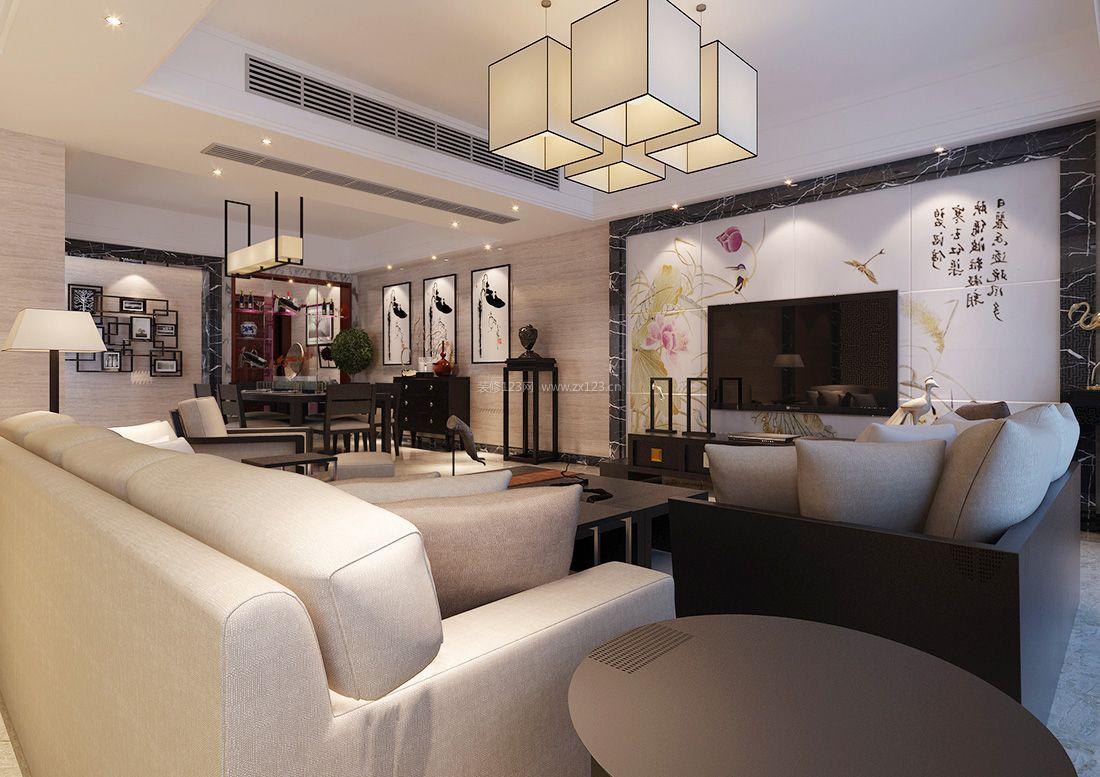 家装效果图 中式 2017最新中式现代客厅电视背景墙装饰效果图 提供者图片