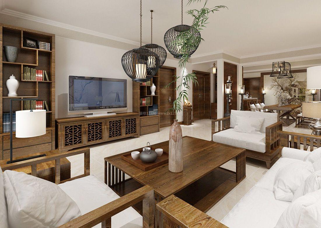 最新中式家装客厅电视背景墙装饰设计效果图