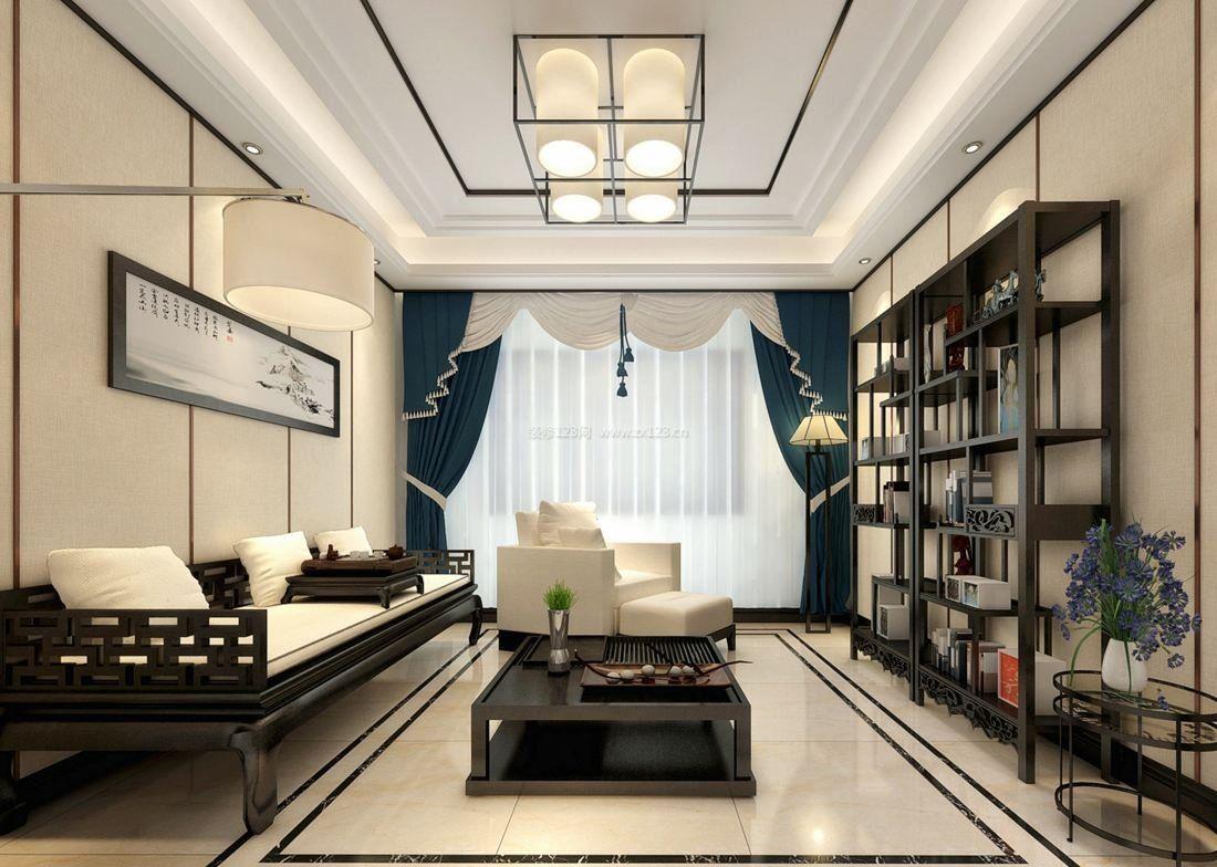 现代中式家居客厅连阳台装修效果图欣赏