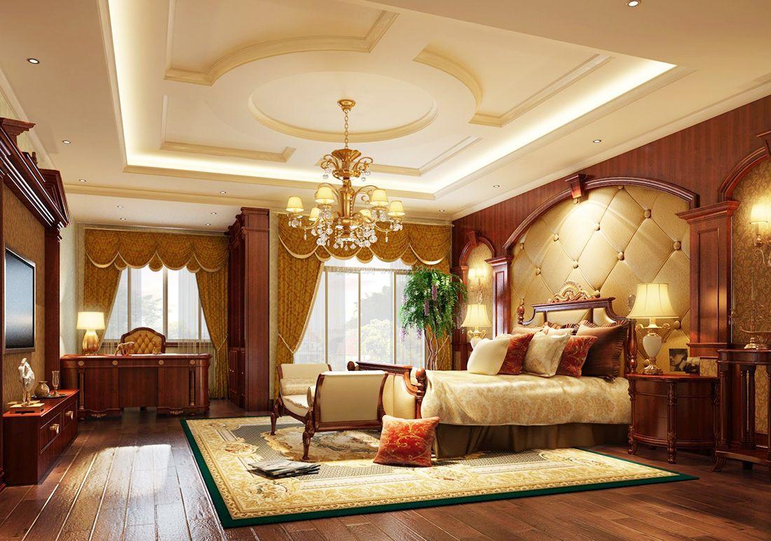 欧式复古家庭卧室装修吊顶设计图2017