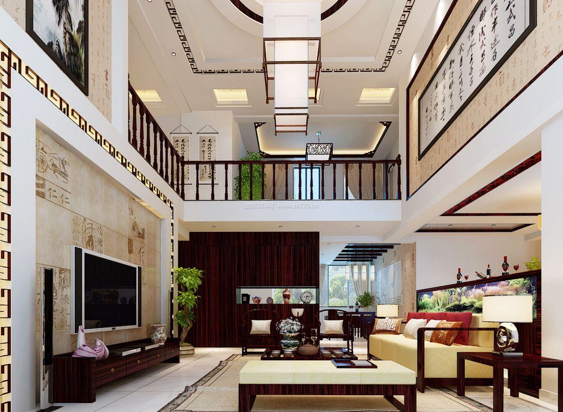 2017中式复式别墅客厅电视背景墙装饰图片-两层别墅客厅石材电视背