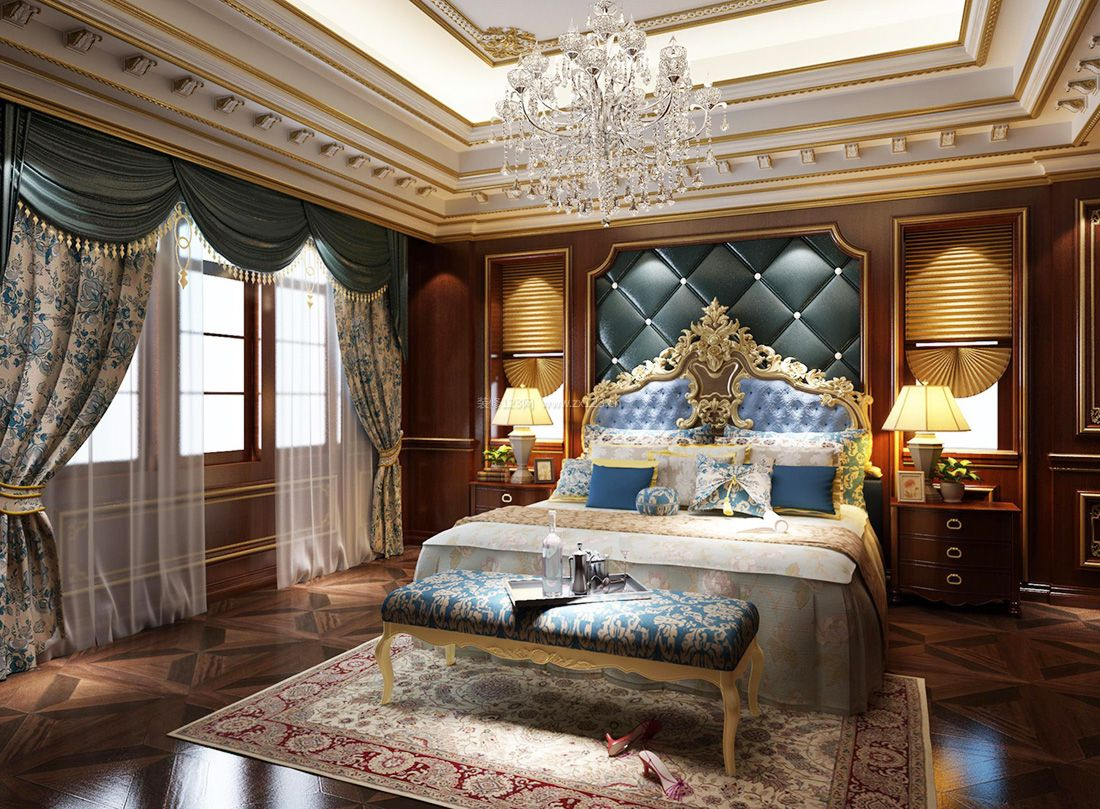2017欧式复古卧室床尾凳装修效果图片案例