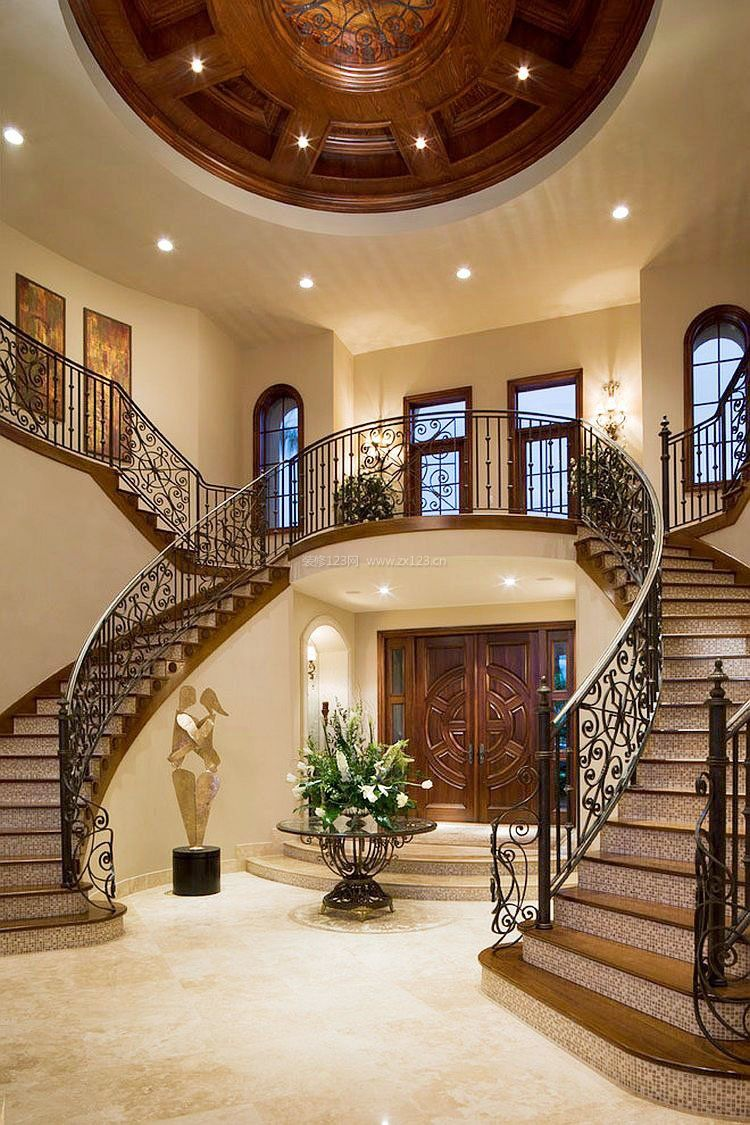 别墅大厅楼梯设计图片大全_装修123效果图图片