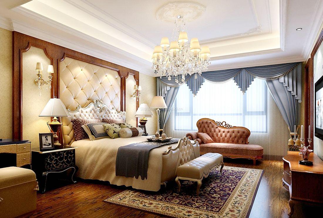 2017最新欧式复古卧室蓝色窗帘装修效果图片