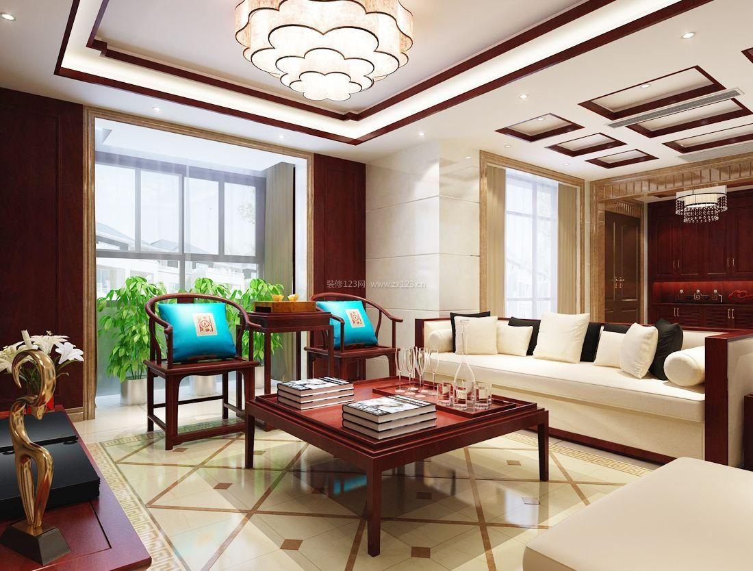 现代中式装修客厅连阳台效果图大全