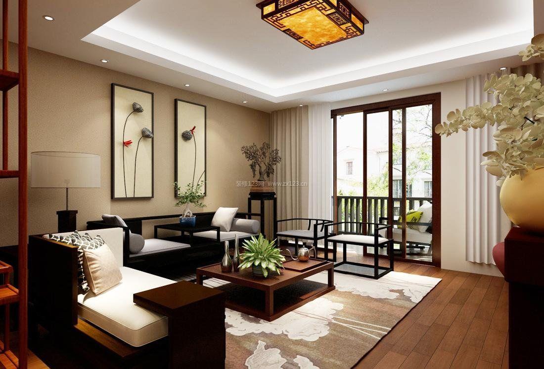 中式家装设计客厅连阳台效果图_装修123效果图图片