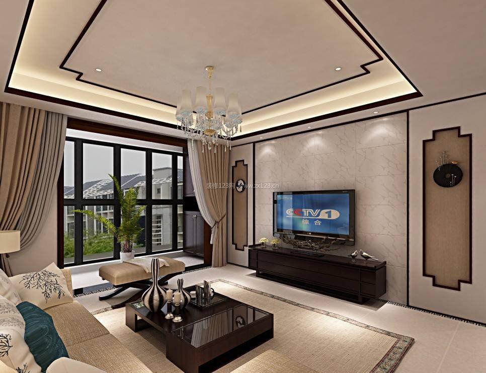 现代中式装修客厅连阳台效果图片大全