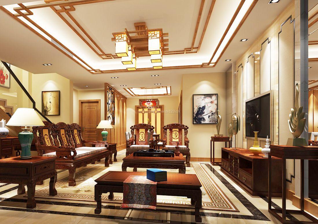 中式跃层别墅客厅电视背景墙装饰图片2017图片