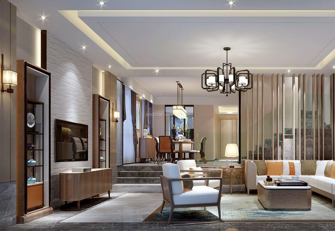 家装效果图 中式 中式别墅客厅电视背景墙装饰装修效果图2017 提供者