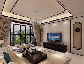 客厅连阳台效果图 现代中式装修效果图大全