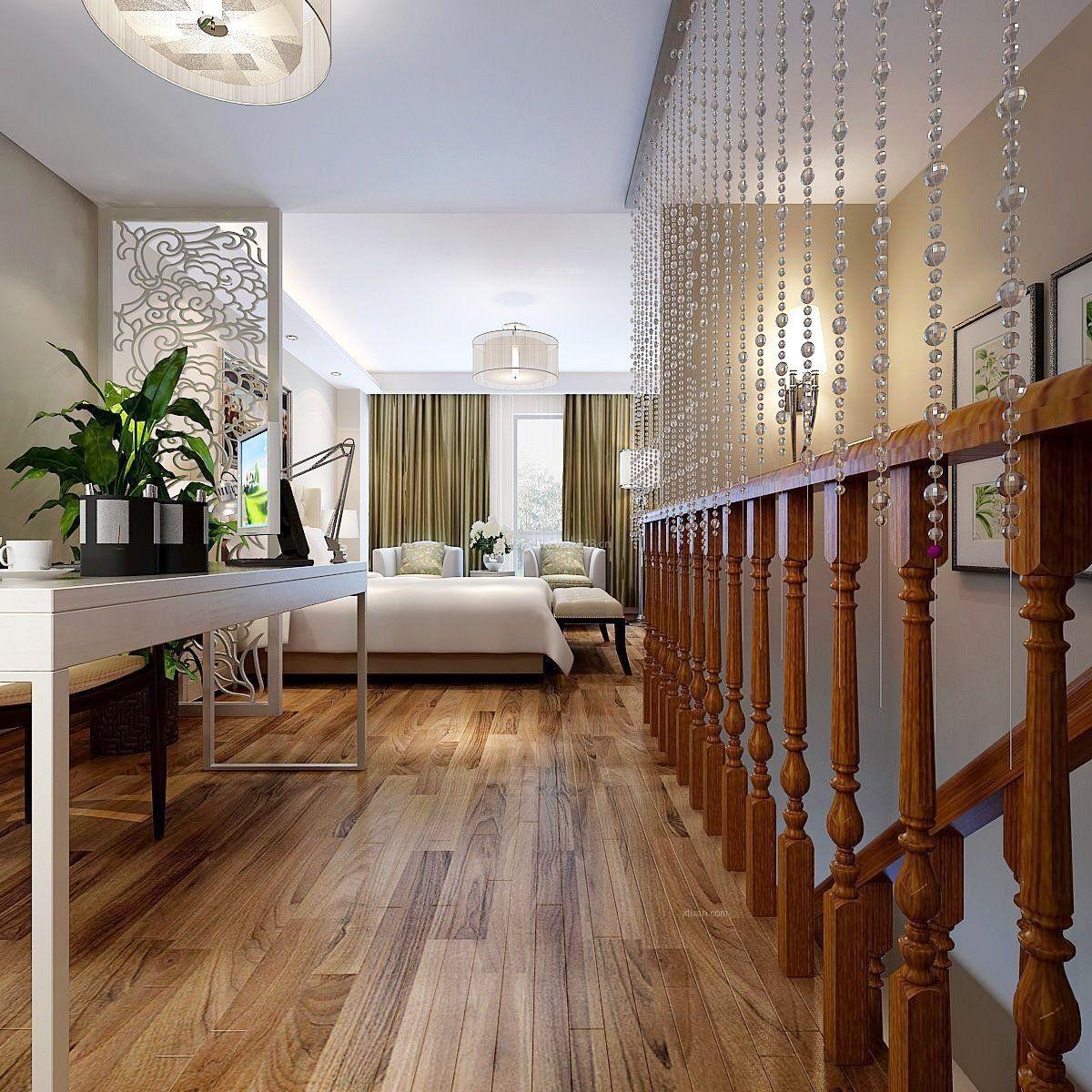 复式现代简约风格卧室木地板效果图